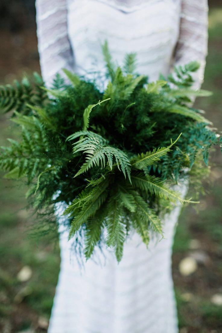 green fern wedding bouquet. #greenwedding #botanical