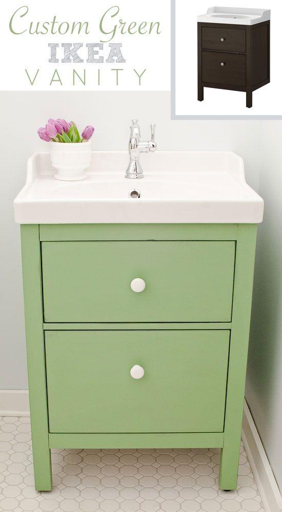 Green Ikea Custom Bathroom Vanity