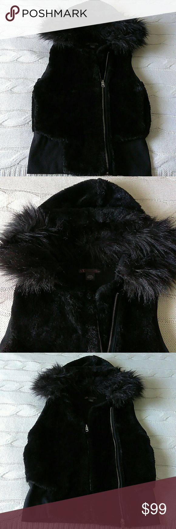 Armani Exchange Hooded Fur Vest Jacket Armani Exchange Hooded Fur Vest Jacket. Dual Zipper for a more fitted or loose fit (Size S or M). Button on & off fur trim on the hood. Armani Exchange Jackets & Coats