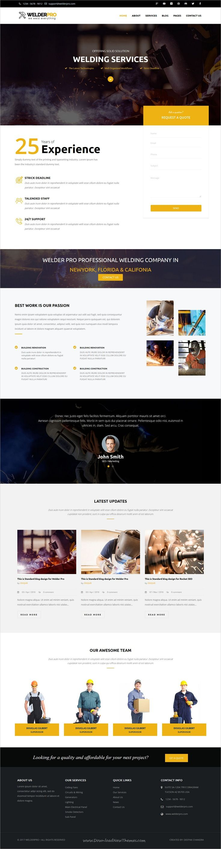 Welder Pro is clean and modern design responsive #WordPress theme for #welding services companies website download now..