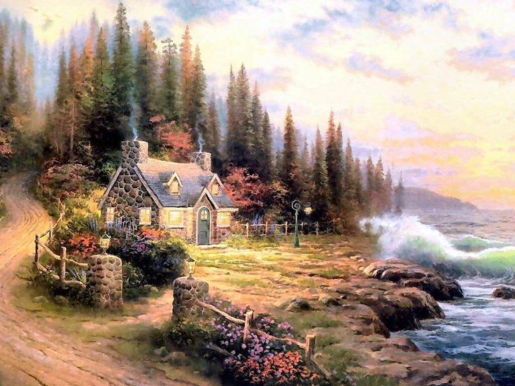 Thomas Kincade print of a stone cottage along the shore.... Love it !