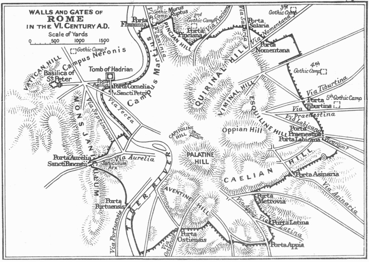 Map of the Aurelian Walls of Rome  Maps of Rome and Vatican City