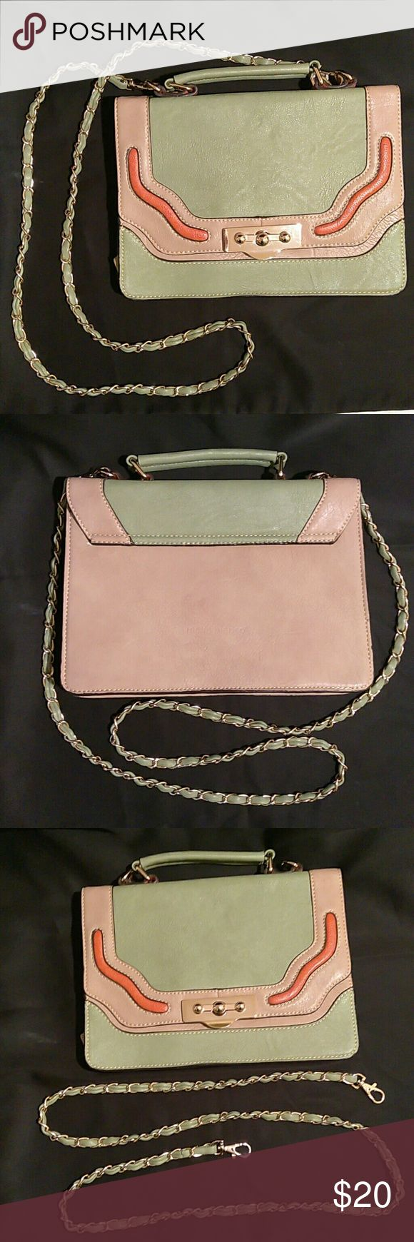 Melie Bianco Handbag New, never used Melie Bianco handbag. Neutral beige, green and orange with gold accents, detachable chain. Clean with no imperfections. Melie Bianco Bags
