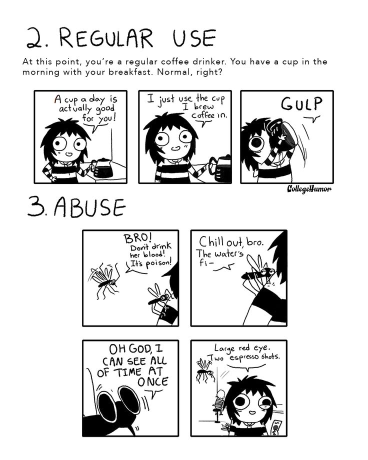The 7 Stages of Your Caffeine Addiction: 2. Regular Use and 3. Abuse. Sarah Andersen of the webcomic Sarah's Scribbles.