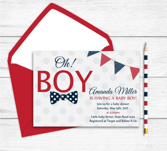 Printable Navy Blue Red Grey Baby Shower by RedRedRoseHandmade