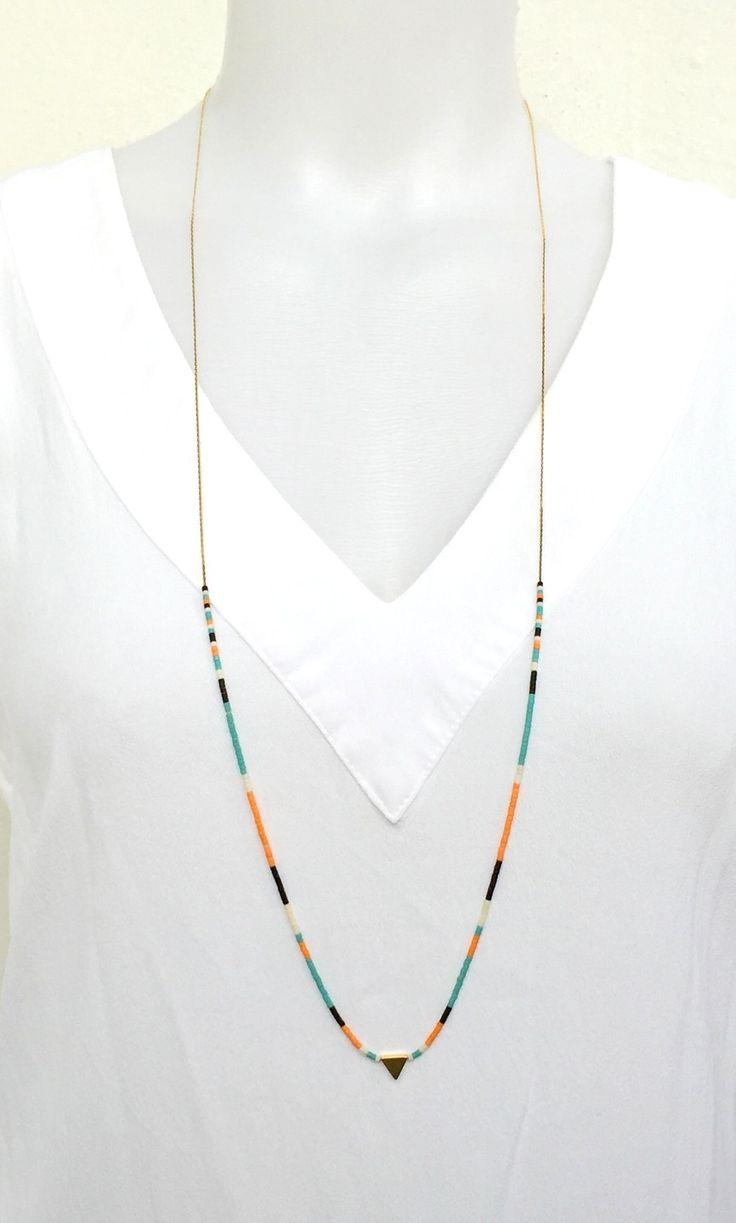 Sautoir Triangle Chaine fine et Perles Miyuki - Sautoir Pastel - Multicolore minimaliste : Collier par les-bijoux-de-pomponette