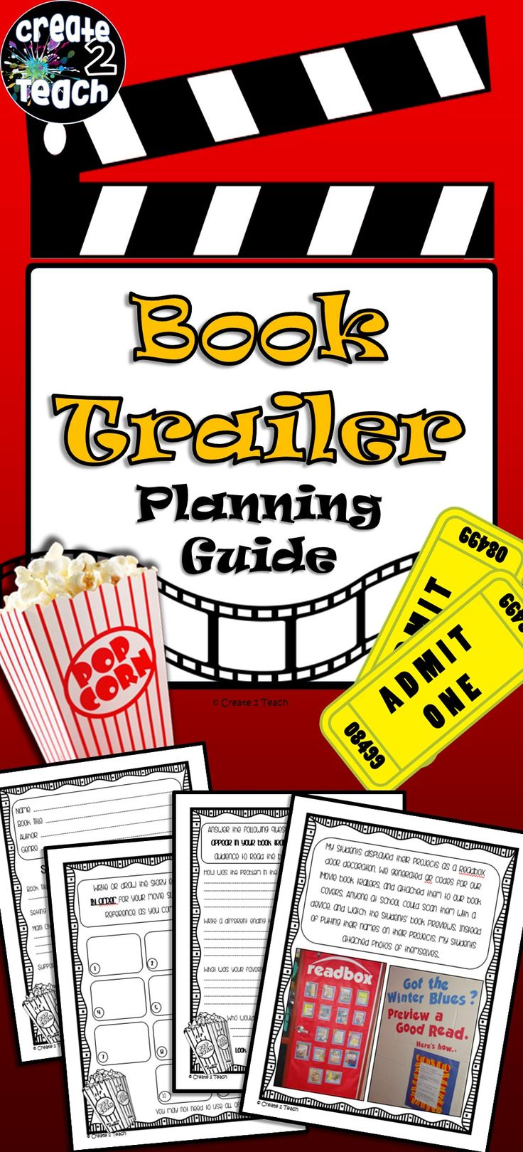 Book Trailer Graphic Organizer: No more dead-end book reports! Book Trailers are a great way to get upper grade elementary students motivated to read!! This multi-page graphic organizer will guide your students' thinking and creativity, as they produce and direct their own book trailer in iMovie!