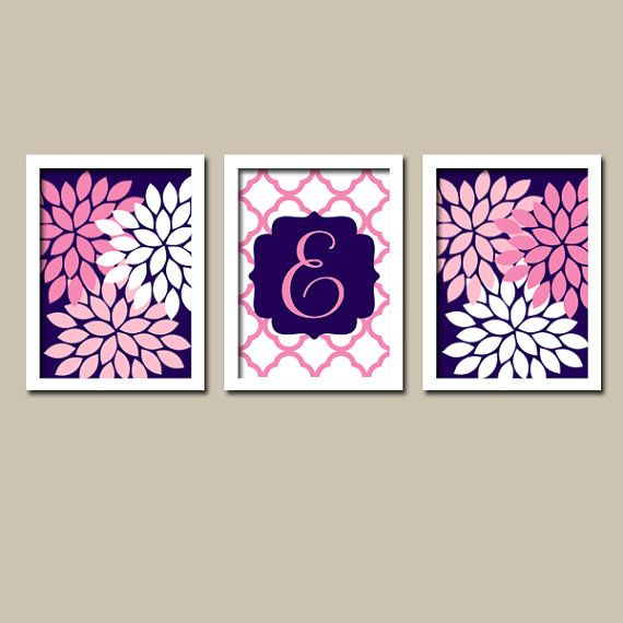 Wall Art Girl Child Canvas Artwork Navy Blue Hot Pink Monogram Flower  Letter Initial Set of 3 Prints Quatrefoil  Decor   Bedroom  Three