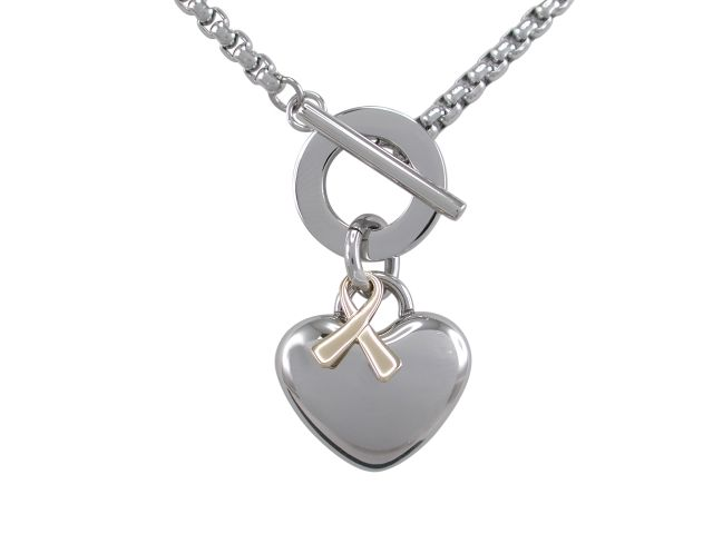 Stainless Steel 26mm Puff Heart & Gold Plated Ribbon Fob Necklet 55cm