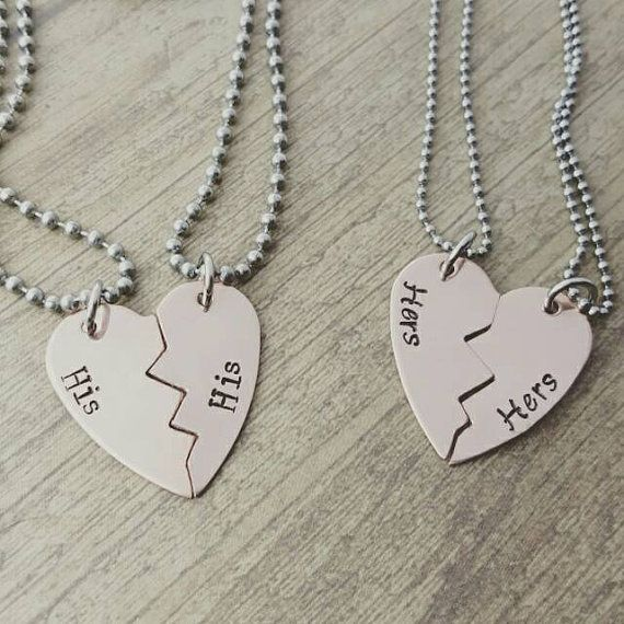 Copper broken heart his& his or hers and hers necklace set ...