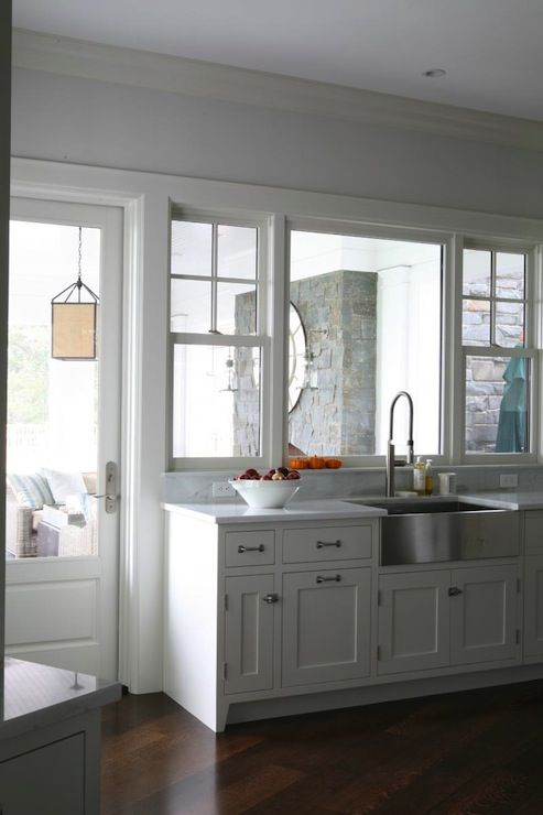 Foley & Cox - kitchens - pale, blue, walls, stainless steel, apron, sink, white, kitchen cabinets, marble, countertops, apron sink, stainless steel apron sink,