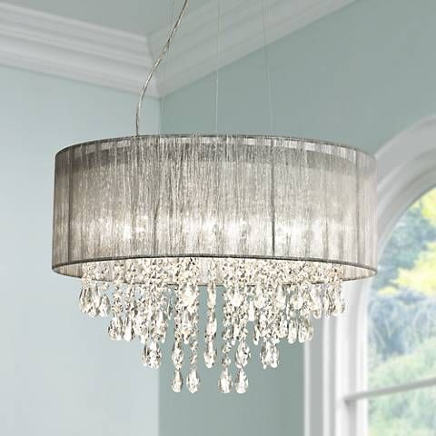 This Beautiful Crystal Chandelier From Possini Euro Design Features An  Elegant Sheer Shade.