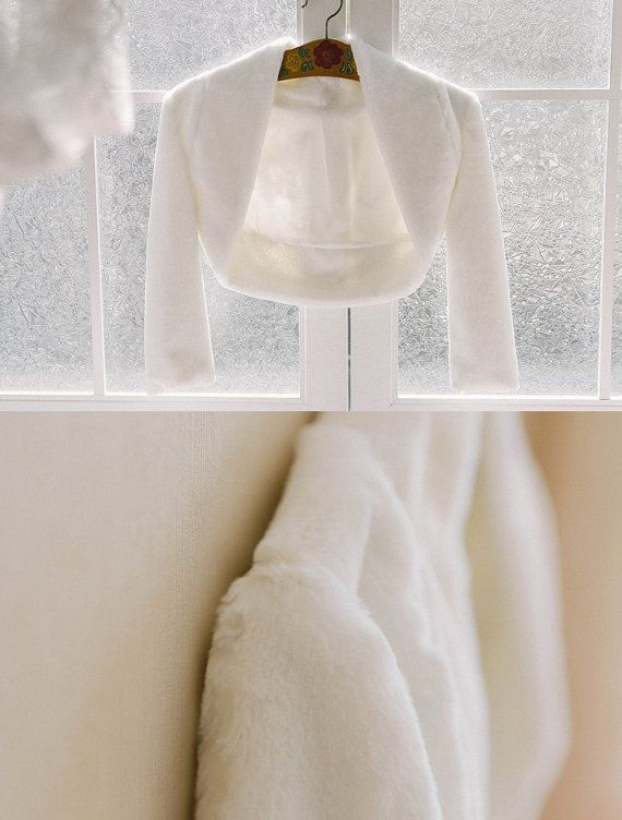 Bridal faux fur jacket wedding fur bolero bridal by woomeeBridal