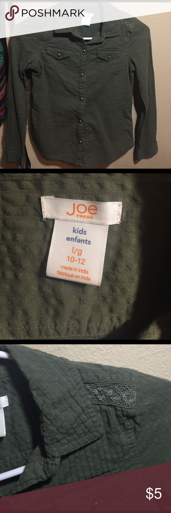 Joe Fresh Army Green Button Down shirt Army Green button down shirt with crochet detailing on shoulders. Excellent condition, only worn a couple of times. Joe Fresh Shirts & Tops Button Down Shirts