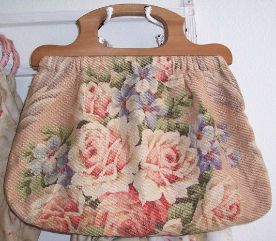 VINTAGE Barkcloth Era Pink ROSES Fabric by vintageflowers on Etsy, $52.00