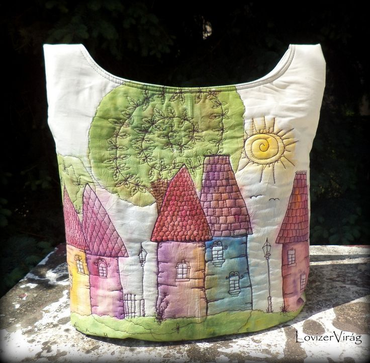 Eclectic stiched art Embroidered bag with houses