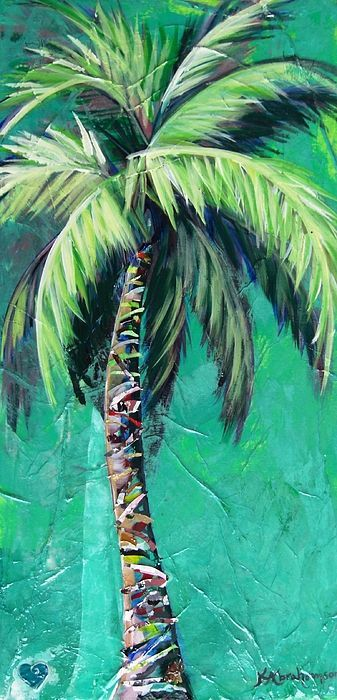 Palm tree painting with aqua background by Kristen Abrahamson for your coastal decor.