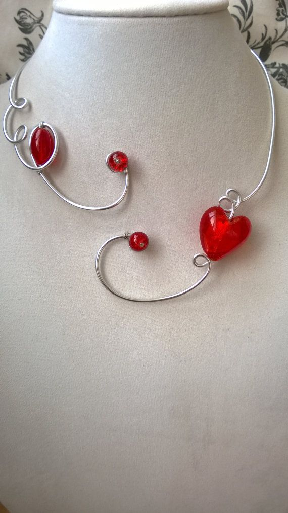 FREE GIFT  Free earrings  Red necklace heart necklace
