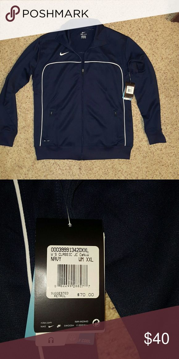 Nike NWT women's zip up jacket size XXL navy blue Nike NWT dri fit  women's  navy blue zip up jacket size XXL Nike  Jackets & Coats