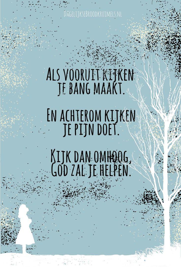 Als vooruit kijken je bang maakt. En achterom kijken je pijn doet. Kijk dan omhoog, God zal je helpen.    http://www.dagelijksebroodkruimels.nl/god-zal-je-helpen/