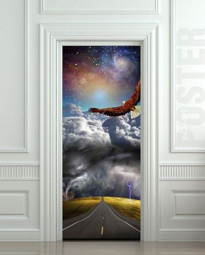 "Door STICKER tempest storm eagle fantasy space road mural decole film self-adhesive poster 30x79""(77x200 cm) /"