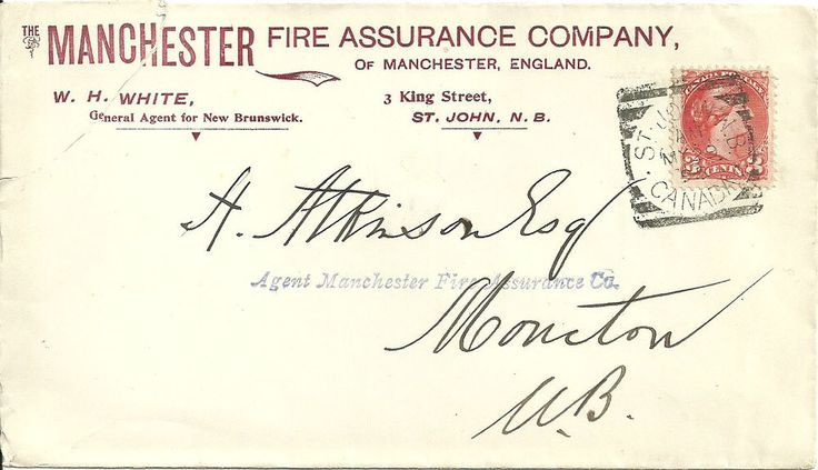 1895 cover St.John N.B. to Moncton with 3c.on illus.Manchester Fire Assurance