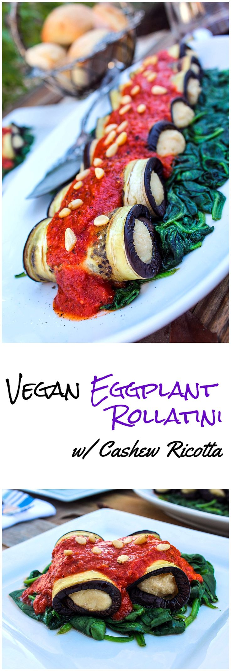 Vegan Eggplant Rollatini with Cashew Ricotta - http://veganhuggs.com/eggplant-rollatini-2/