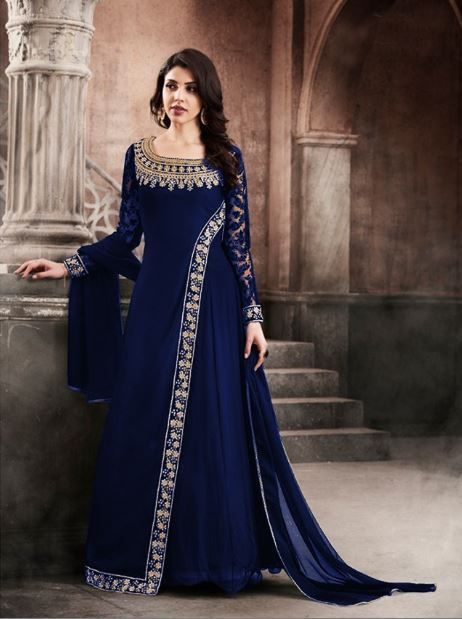 e6dade7a54 Indian Woman clothes Wedding Wear Party wear Nakashi-3066 Navy Blue fox  Gorget & Embroidery And Diamond Work Designer Style salwar Suit -FC-5556