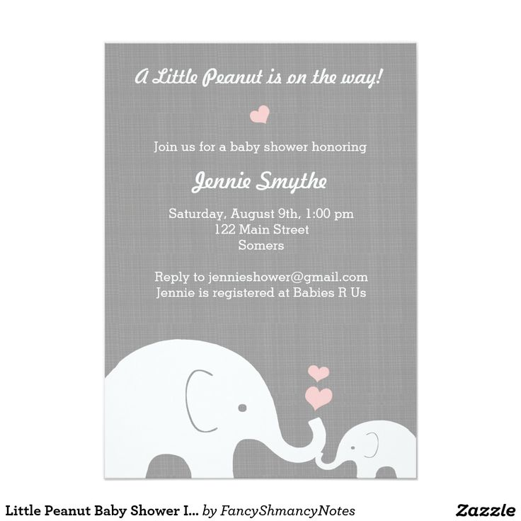 Little Peanut Baby Shower Invitation-Pink Hearts Card