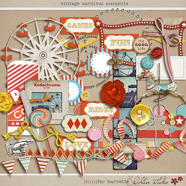 Vintage Carnival ...love the colors and the orange starburst paper in this. would love to use it for state fair pics