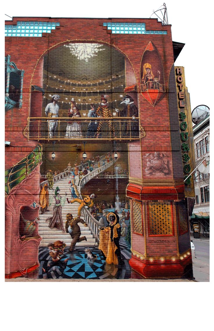 3-D art on Hotel Bourbon in Montreal, Quebec, Canada - by ArtDuCommmun