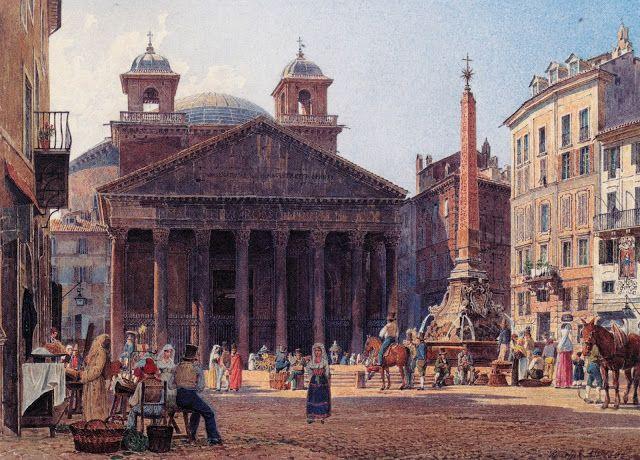 Rudolf von Alt, The Pantheon and Piazza della Rotonda, 1735