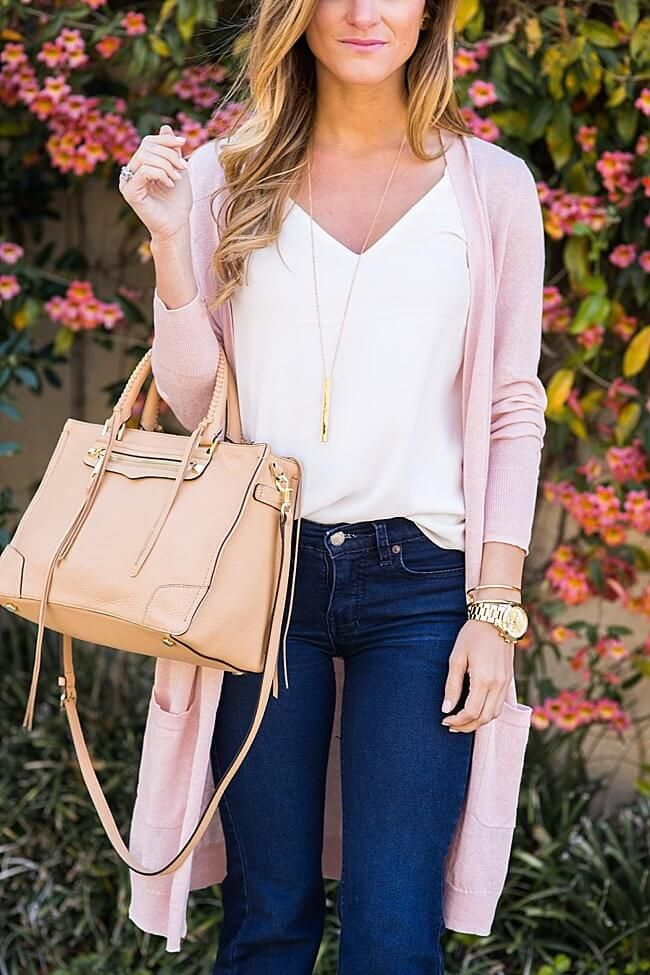 long cardigan and flared jeans outfit