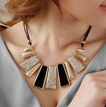 New Style Vintage Black Rope Irregular Geometric Figure  Short  Rhinestone Necklace Design(China (Mainland))