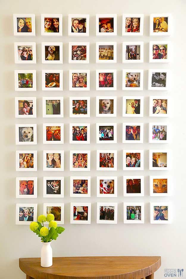 Cool DIY Wall Art Ideas for Room Decor | DIY Instagram Wall by DIY Ready at http://diyready.com/easy-teen-room-decor-ideas-for-girls/