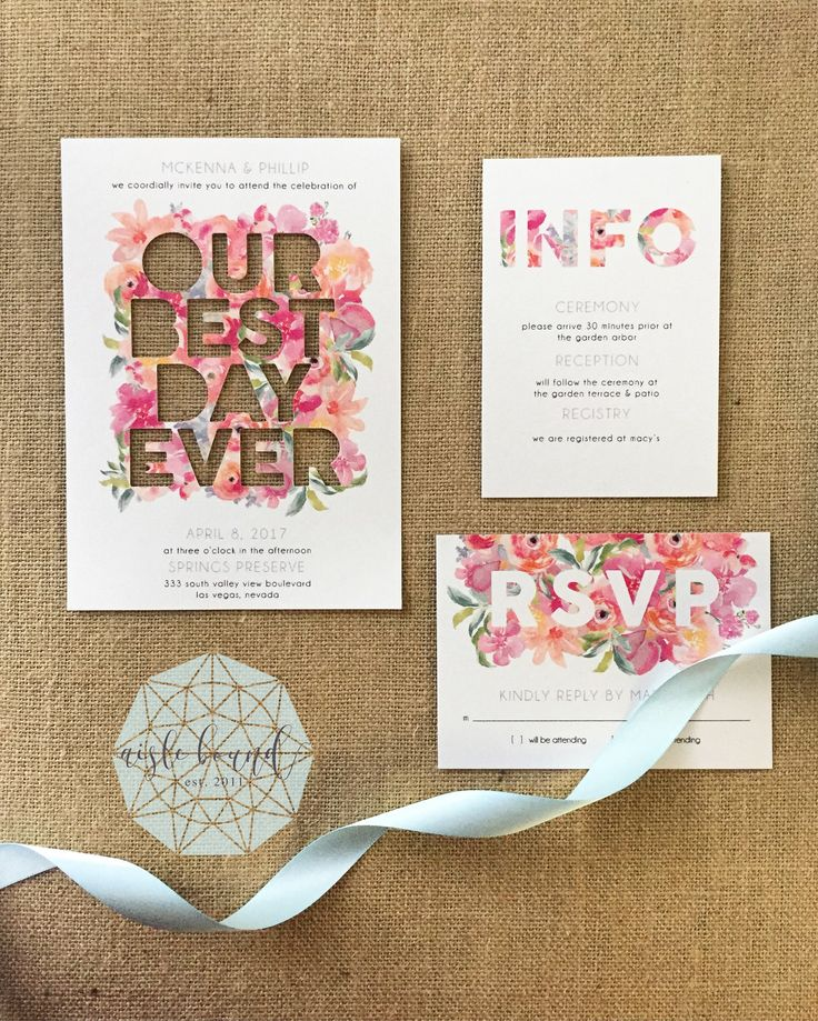 """OUR BEST DAY EVER"" Watercolor Floral, Custom Shape, Die-cut wedding Invitations, Spring Wedding, RSVP Card, Las Vegas Portland Wedding Stationery by @aislebound"