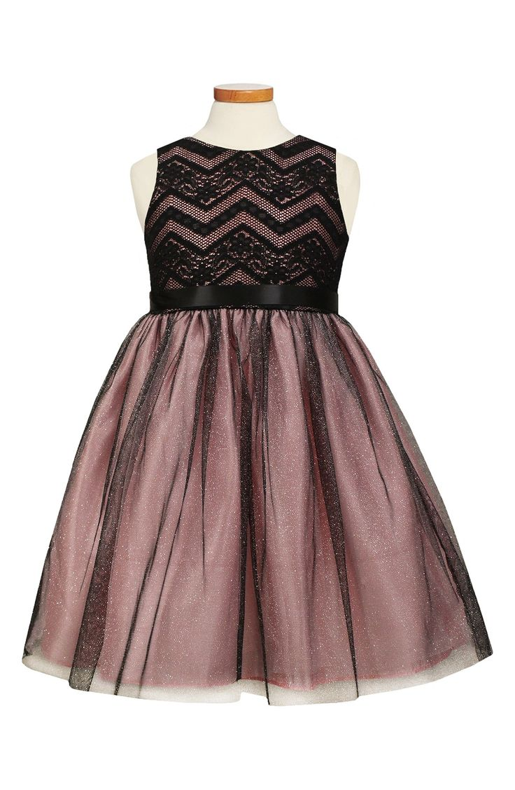 Sorbet Lace & Taffeta Dress (Toddler Girls, Little Girls & Big Girls)