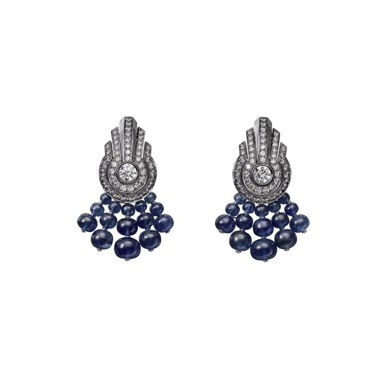High Jewelry earrings High Jewelry <br />Cartier Royal <br />earrings, platinum, sapphire beads, brilliant-cut diamonds.