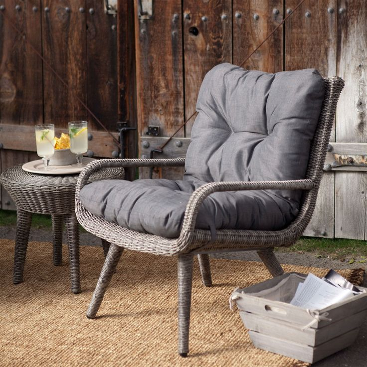 Weather Resistant Wicker Resin Patio Furniture Set with 2 Chairs Cushions & Side Table