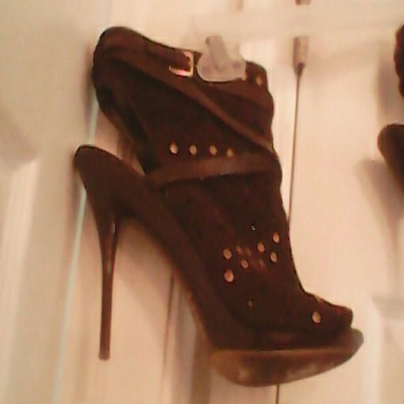 Studded brown suede open heel bootie Brown strappy high heels price firm Shoes