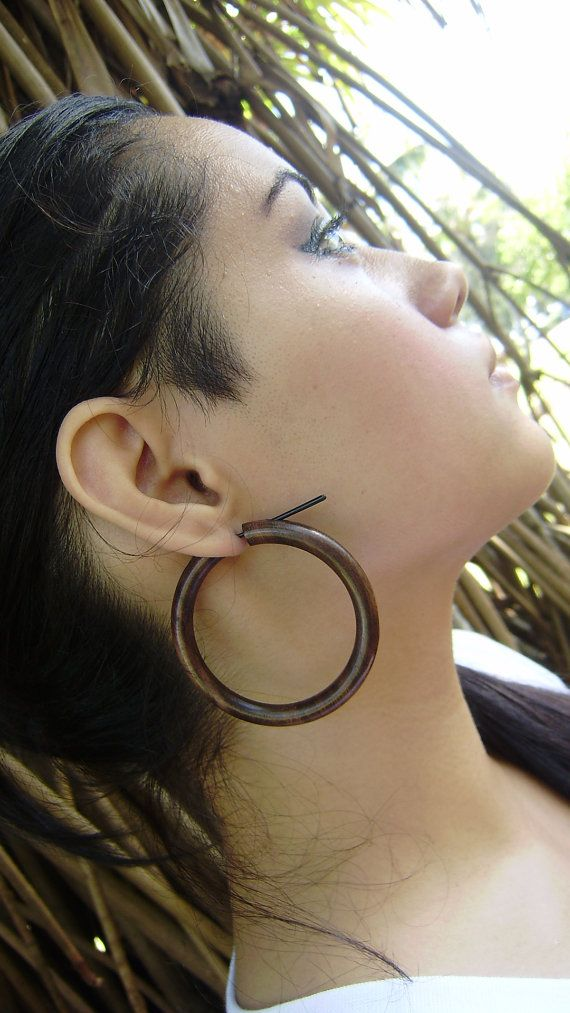 Fake Gauge Earrings Organic Large Stick Wood Hoop Tribal Style Hand Carved Naturally