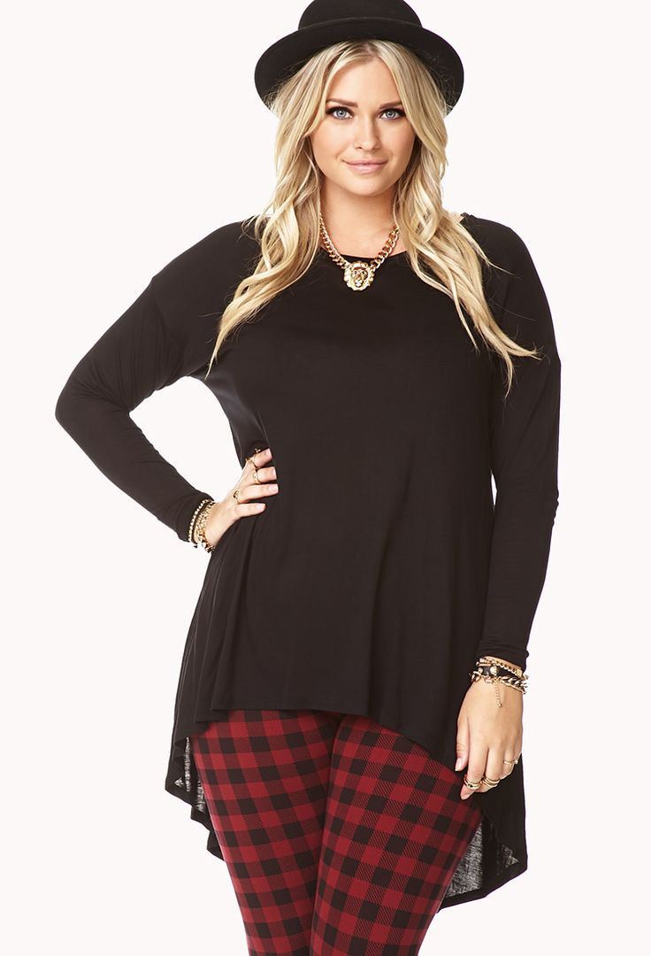 Curvy fashion: High-Low Dolman Top with tartan pants and hat. #black #plus size