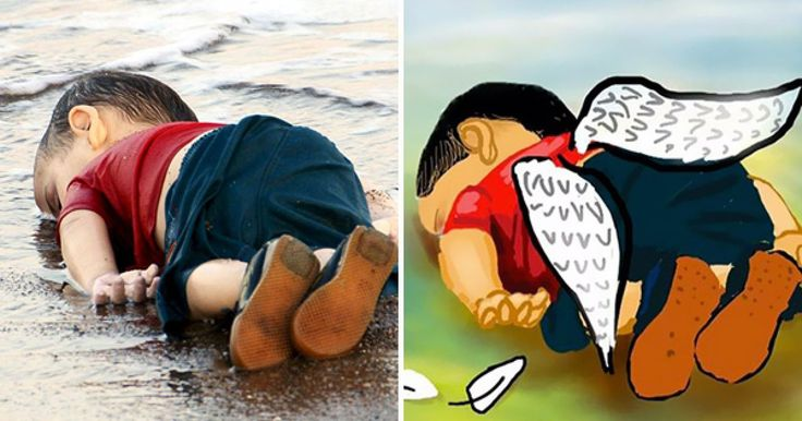 El pasado 2 de septiembre sucedió algo muy triste e indignante, la policía turca hayó el cadáver de un pequeño niño sirio de 3 años, Aylan Kurdi, ahogado junto a su hermano de 5 años Ghalib y su madre Rehan en el mar Mediterráneo mientras escapaban de Siria. Las imágenes de su pequeño cuerpo sin vida se volvieron tan virales que varios artistas alrededor del mundo han realizado algunas piezas mostrando su luto ante la triste situación.