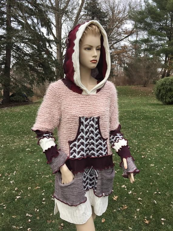 XL Upcycled unique stylish frilly knits sweater, love pink hoodie, handmade by DbN 9