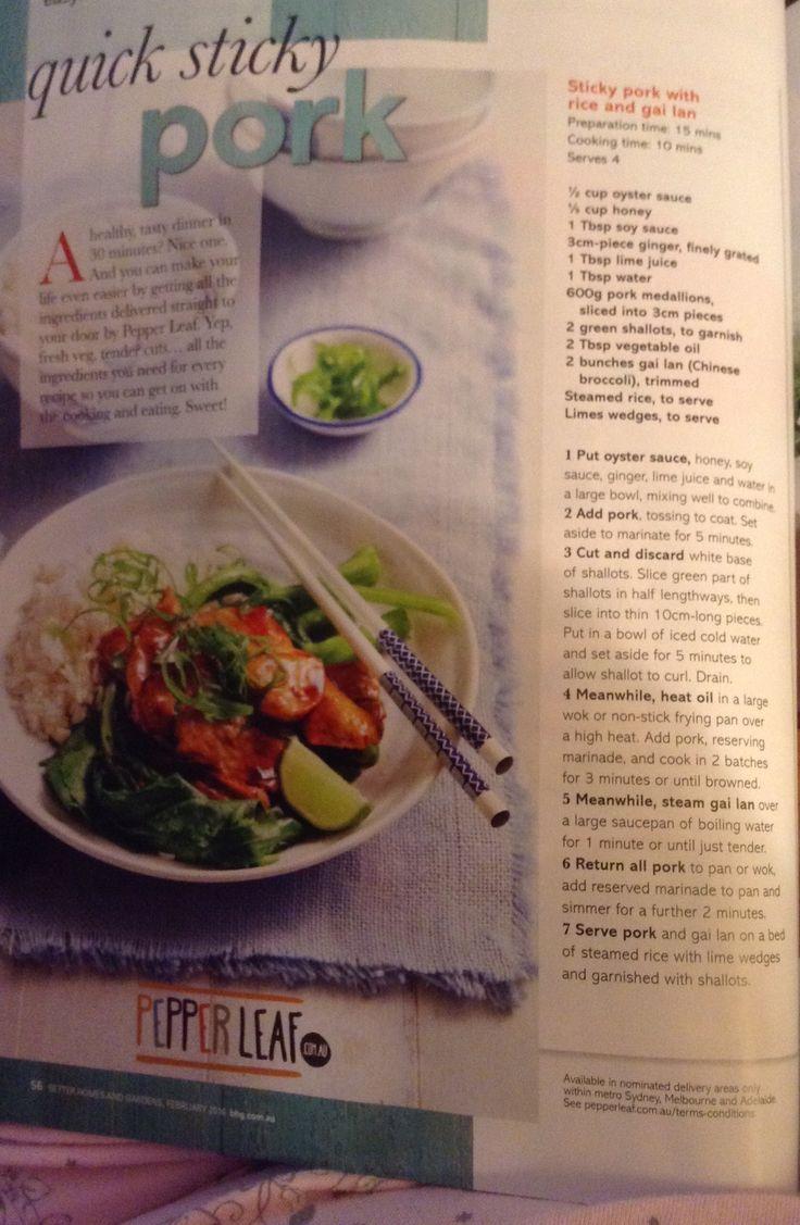 Sticky Pork with Rice & Gai Lan