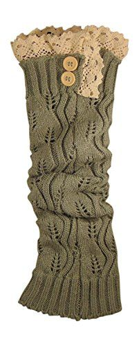 Women's Long Lace Crochet Boot Cover Leg Warmer with Cream Lace and Buttons (Light Gray) Ruby http://www.amazon.com/dp/B00ROCN6IK/ref=cm_sw_r_pi_dp_XFjcwb082WZH2