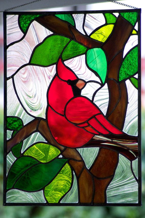 Stained Glass Red Cardinal by JoannePaoneGill on Etsy, $350.00