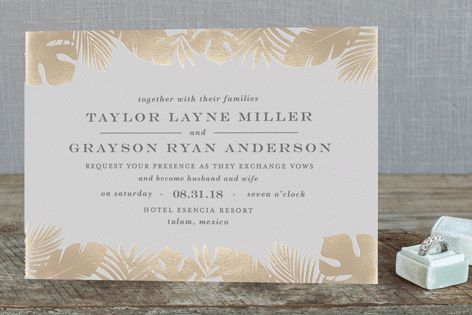 """Gilded Palm"" - Destination, Rustic Foil-pressed Wedding Invitations in Gold by Lauren Chism."