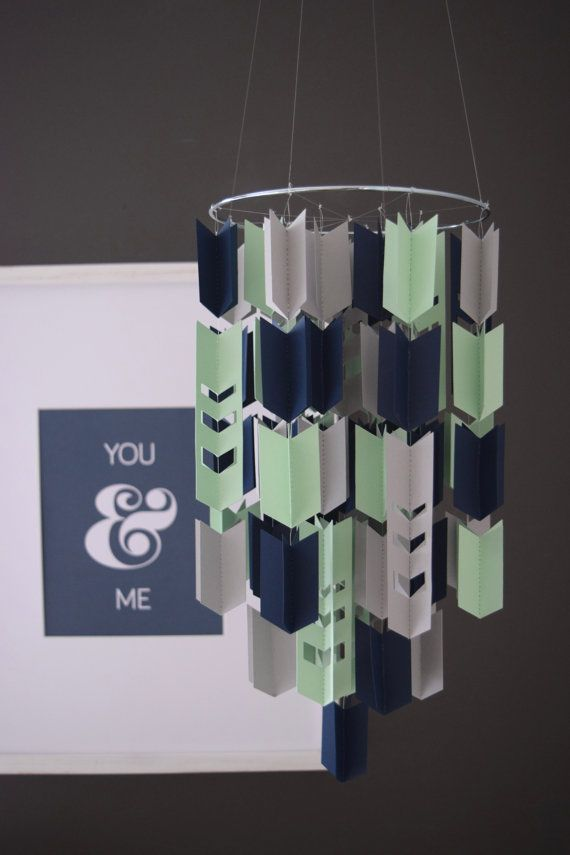 Nursery Navy, Mint and Grey Aztec Arrow Paper Mobile Chandelier (With Chevron Cutouts & Metal Ring) by Trueloveandpaper