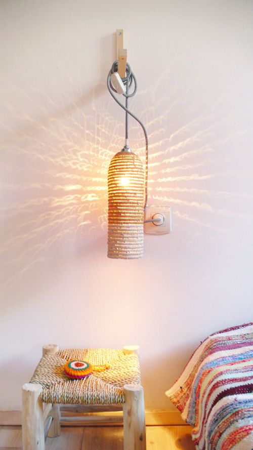 Image of Natural raffia lamp with textile cable, switch and plug - white